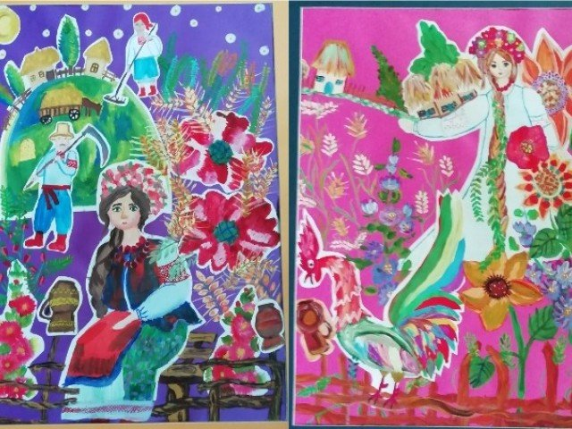 Перегляд творчих робіт учнів 5-Г класу декоративно-ужиткового відділу з предмету живопис
