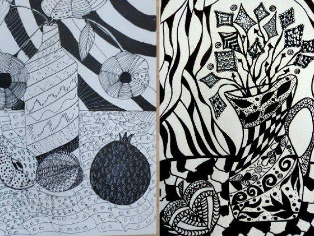 """Підсумковий огляд творчих робіт 5-Г класу декоративно-ужиткового відділу з предмету """"рисунок"""""""